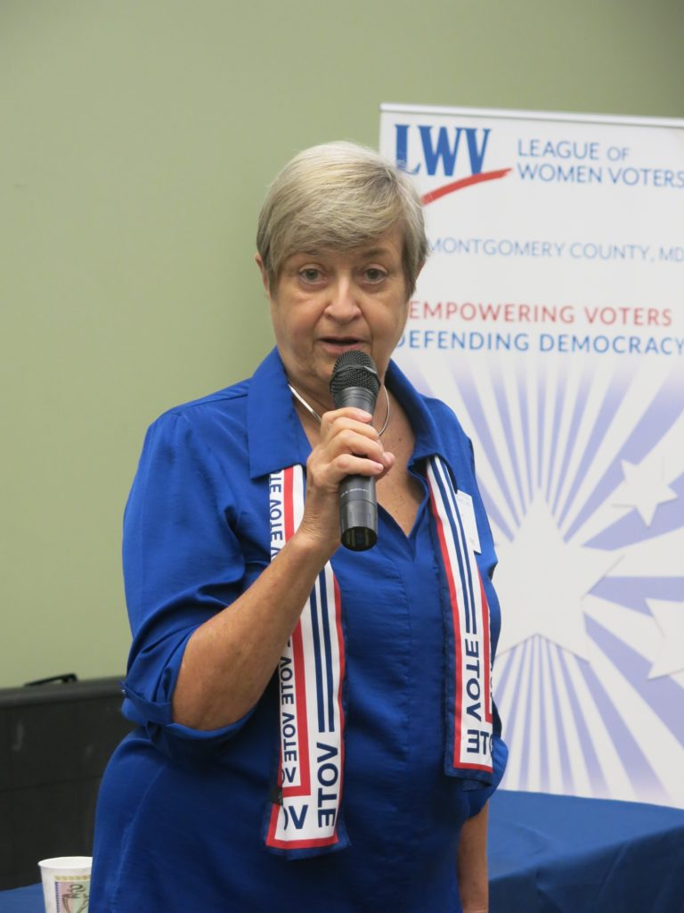 Kathy McGuire, co-president of the League of Women Voters of Montgomery County