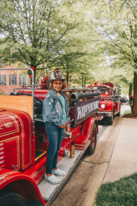 Cabin John Park's antique firetruck stops by a birthday celebration in Gaithersburg