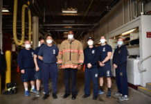 Chief Bailey and firefighters at Montgomery County Fire Rescue Station 4 in Sandy Spring