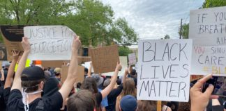Black Lives Matter protest at the Connie Morella Library in Bethesda on Tuesday, June 2, 2020