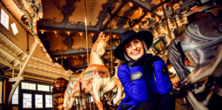 Carol Trawick at Glen Echo Park's Dentzel Carousel