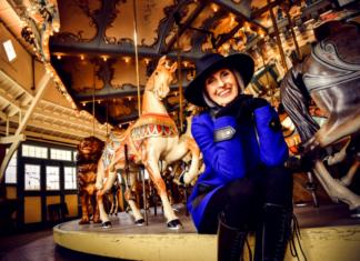 Carol Trawick at Glen Echo Park's Dentzel Carousel